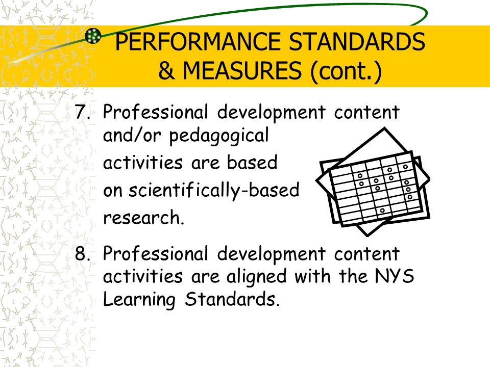 PERFORMANCE STANDARDS & MEASURES (cont.) 7.Professional development content and/or pedagogical activities are based on scientifically-based research.
