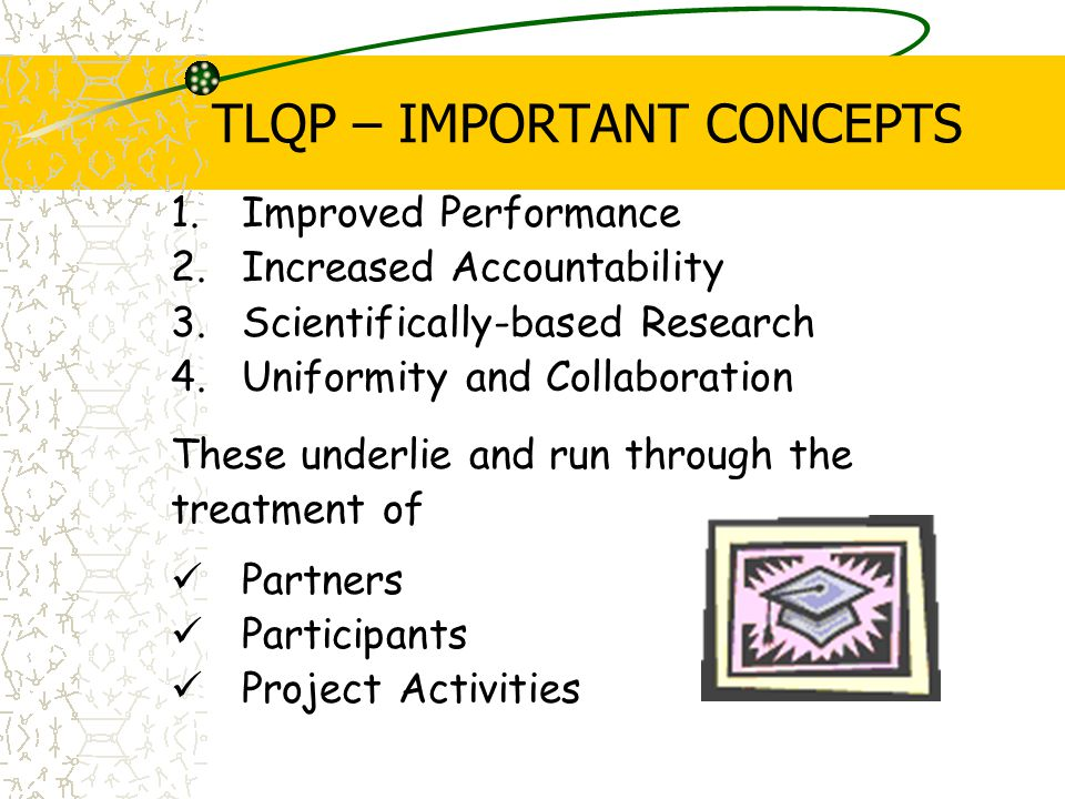 TLQP – IMPORTANT CONCEPTS 1.Improved Performance 2.Increased Accountability 3.Scientifically-based Research 4.Uniformity and Collaboration These underlie and run through the treatment of Partners Participants Project Activities