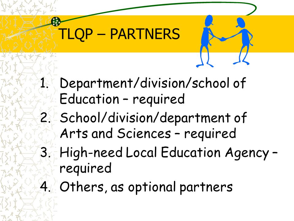TLQP – PARTNERS 1.Department/division/school of Education – required 2.School/division/department of Arts and Sciences – required 3.High-need Local Education Agency – required 4.Others, as optional partners