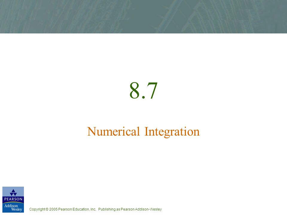 8.7 Numerical Integration