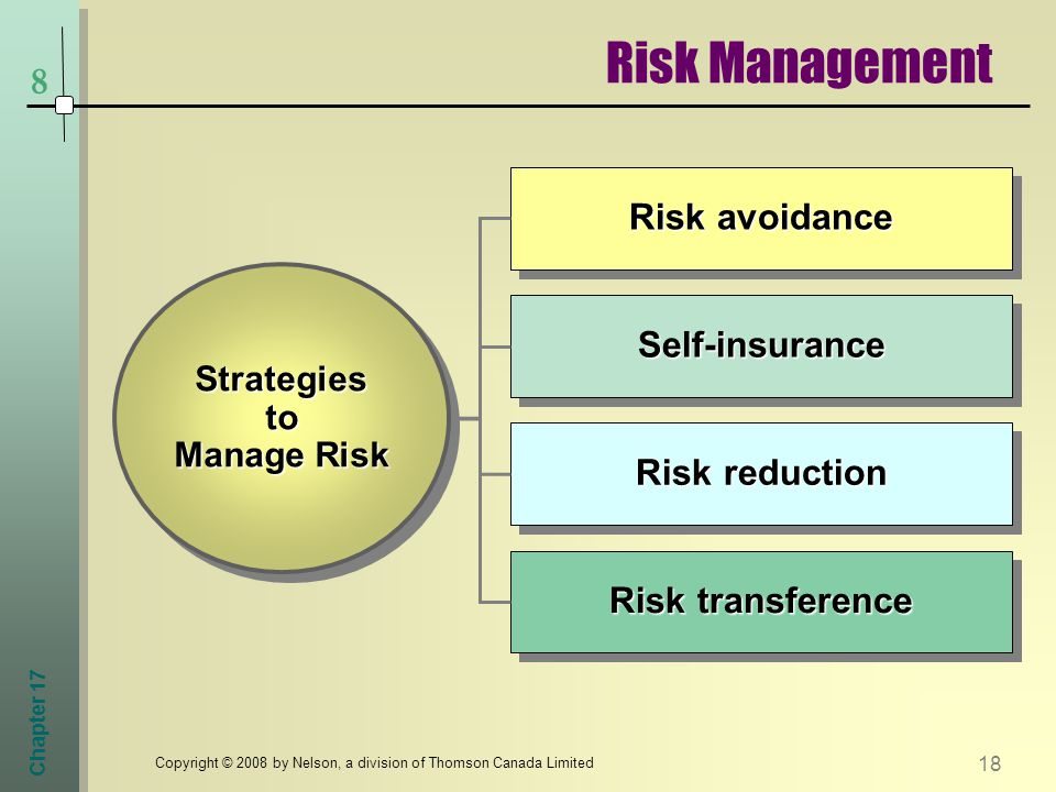 Chapter Copyright © 2008 by Nelson, a division of Thomson Canada Limited Strategies to Manage Risk Risk reduction Risk avoidance Self-insuranceSelf-insurance Risk transference Risk Management 8