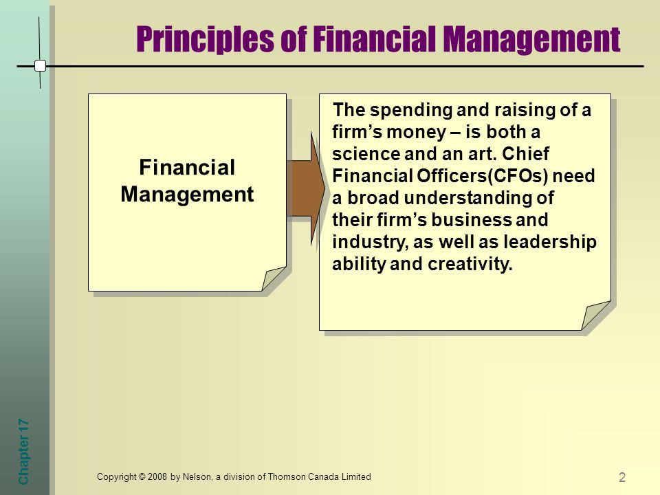 Chapter 17 2 Copyright © 2008 by Nelson, a division of Thomson Canada Limited Principles of Financial Management The spending and raising of a firm's money – is both a science and an art.