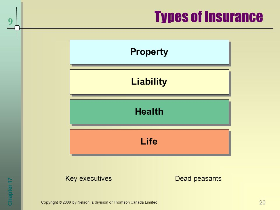 Chapter Copyright © 2008 by Nelson, a division of Thomson Canada Limited Life Health Liability Property Types of Insurance 9 Key executivesDead peasants