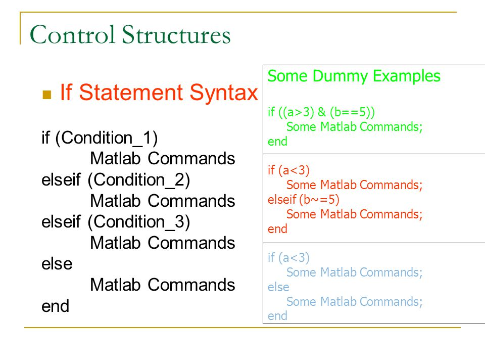 Control Structures If Statement Syntax if (Condition_1) Matlab Commands elseif (Condition_2) Matlab Commands elseif (Condition_3) Matlab Commands else Matlab Commands end Some Dummy Examples if ((a>3) & (b==5)) Some Matlab Commands; end if (a<3) Some Matlab Commands; elseif (b~=5) Some Matlab Commands; end if (a<3) Some Matlab Commands; else Some Matlab Commands; end