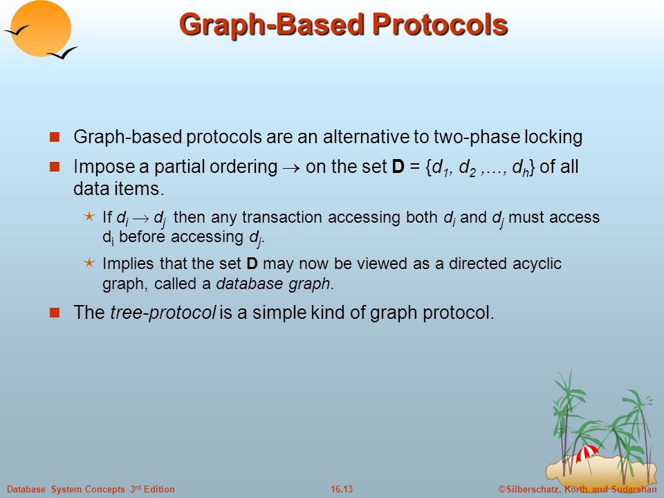 ©Silberschatz, Korth and Sudarshan16.13Database System Concepts 3 rd Edition Graph-Based Protocols Graph-based protocols are an alternative to two-phase locking Impose a partial ordering  on the set D = {d 1, d 2,..., d h } of all data items.