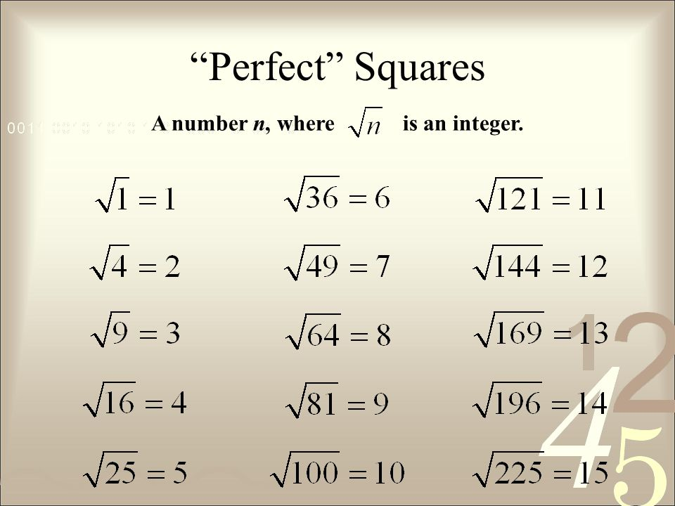 Perfect Squares A number n, where is an integer.