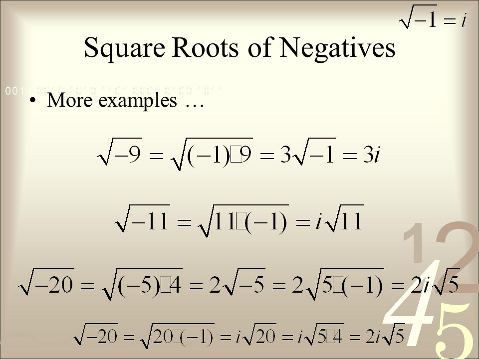 Square Roots of Negatives More examples …