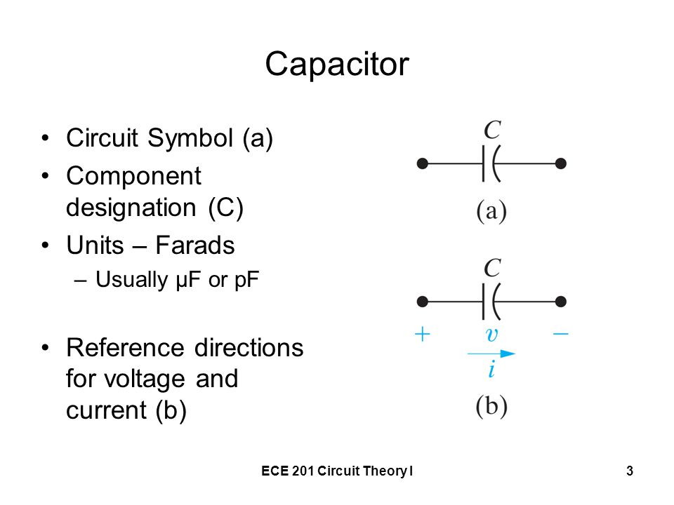 ECE 201 Circuit Theory I3 Capacitor Circuit Symbol (a) Component designation (C) Units – Farads –Usually μF or pF Reference directions for voltage and current (b)
