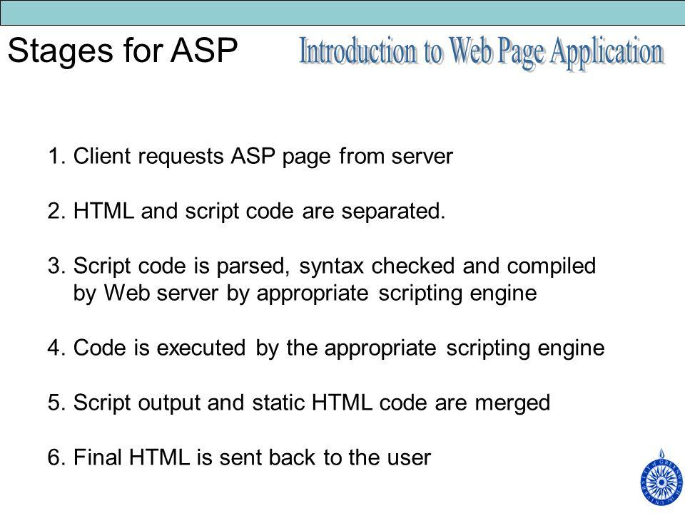 1.Client requests ASP page from server 2.HTML and script code are separated.