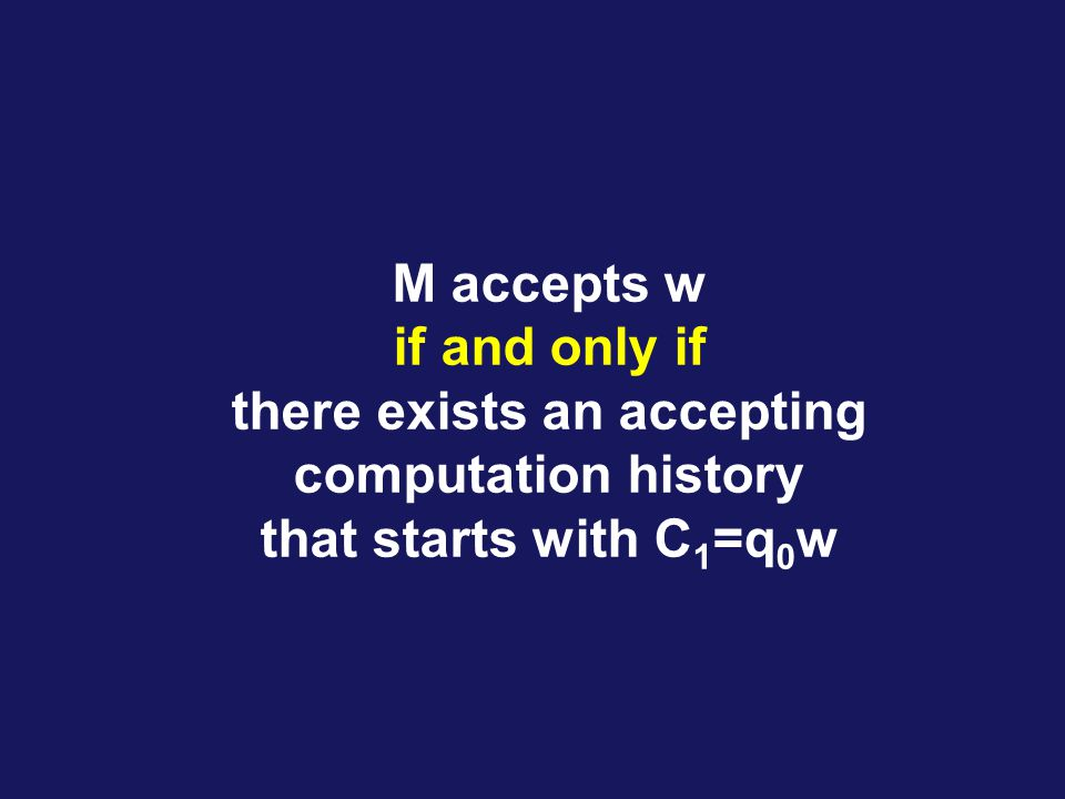 M accepts w if and only if there exists an accepting computation history that starts with C 1 =q 0 w