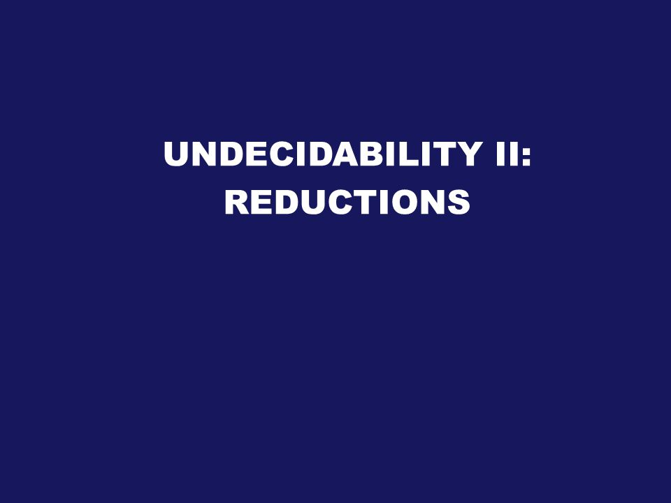 UNDECIDABILITY II: REDUCTIONS