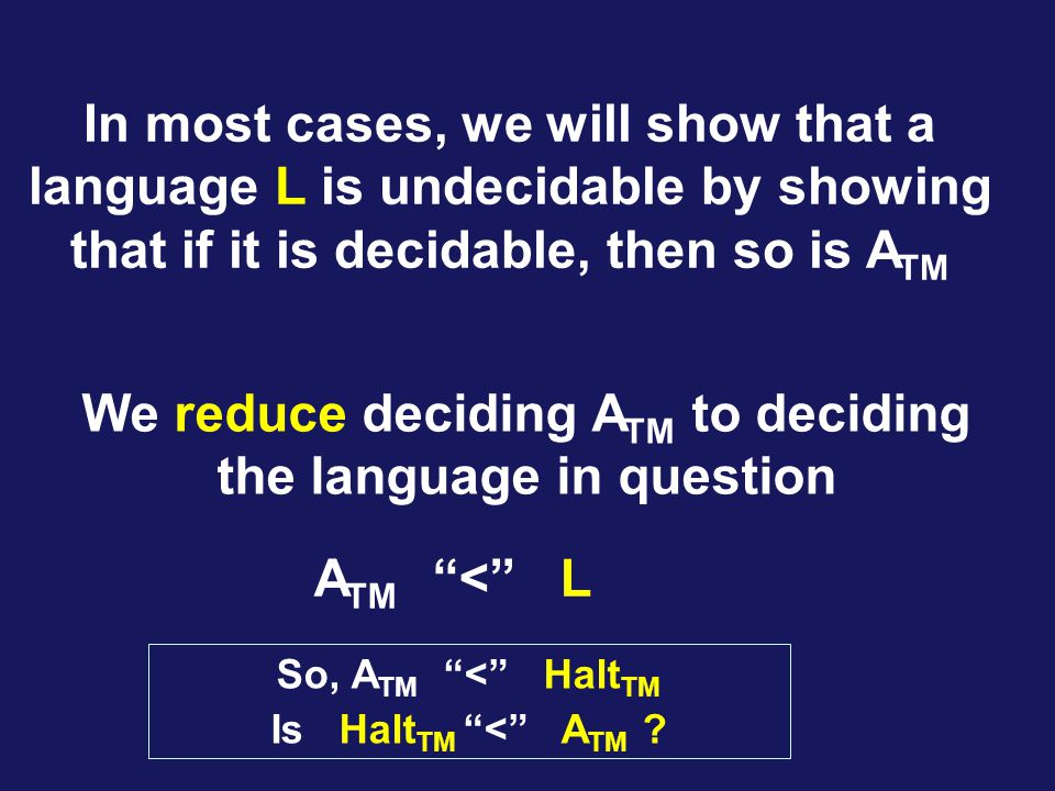 In most cases, we will show that a language L is undecidable by showing that if it is decidable, then so is A TM We reduce deciding A TM to deciding the language in question A TM < L So, A TM < Halt TM Is Halt TM < A TM