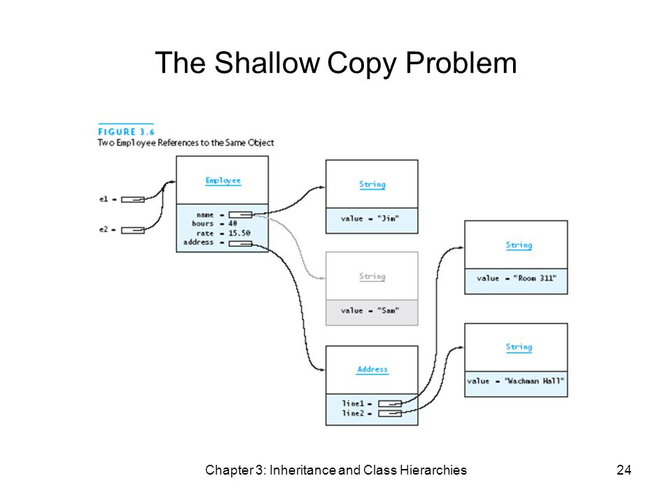 Chapter 3: Inheritance and Class Hierarchies24 The Shallow Copy Problem