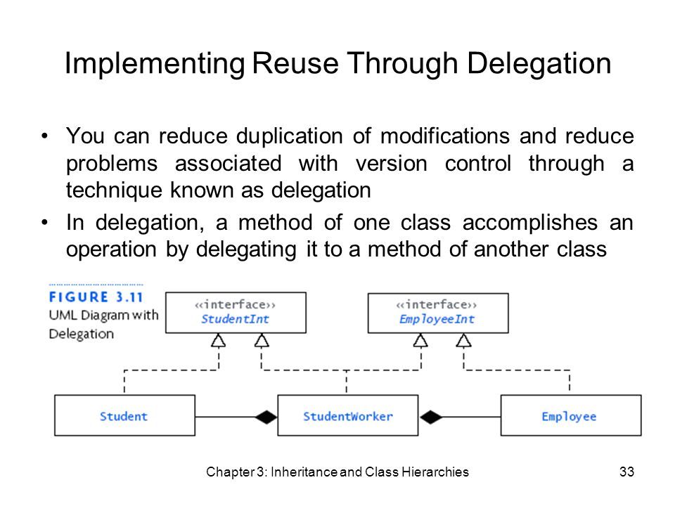 Chapter 3: Inheritance and Class Hierarchies33 Implementing Reuse Through Delegation You can reduce duplication of modifications and reduce problems associated with version control through a technique known as delegation In delegation, a method of one class accomplishes an operation by delegating it to a method of another class