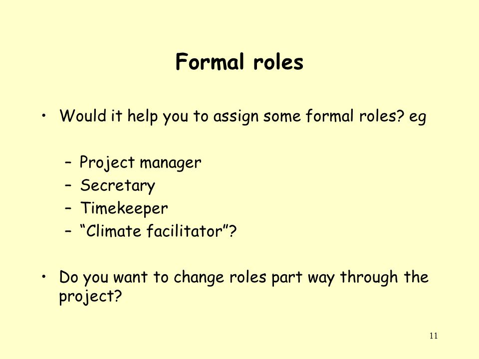 11 Formal roles Would it help you to assign some formal roles.
