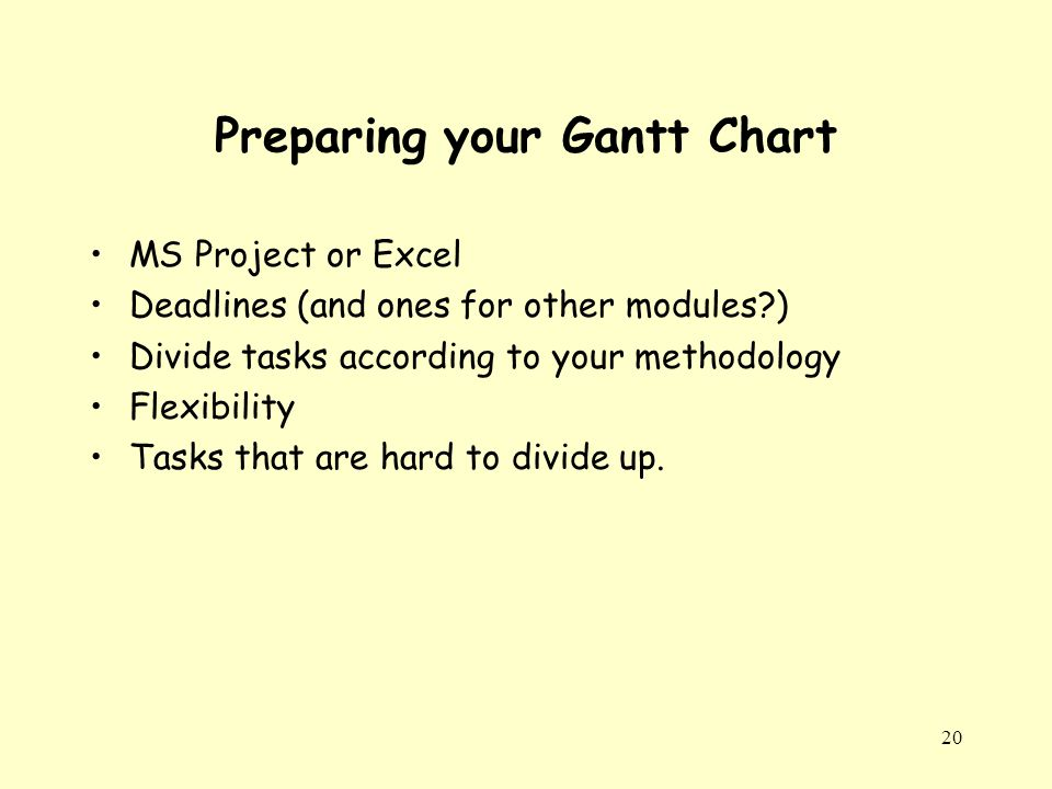20 Preparing your Gantt Chart MS Project or Excel Deadlines (and ones for other modules ) Divide tasks according to your methodology Flexibility Tasks that are hard to divide up.