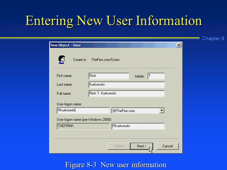 Chapter 8 Entering New User Information Figure 8-3 New user information
