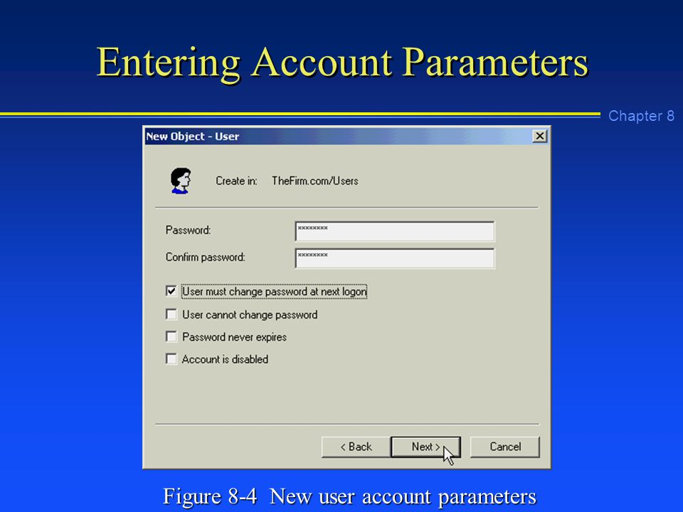 Chapter 8 Entering Account Parameters Figure 8-4 New user account parameters
