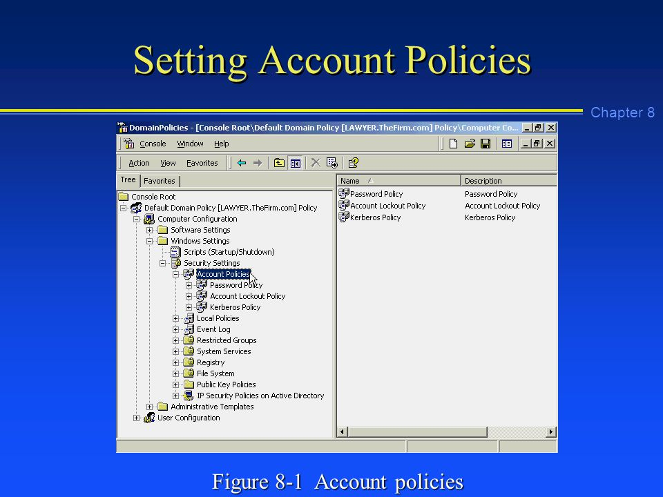 Chapter 8 Setting Account Policies Figure 8-1 Account policies