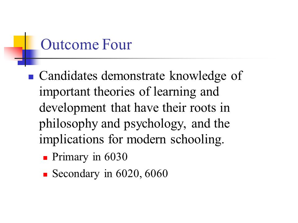 Outcome Four Candidates demonstrate knowledge of important theories of learning and development that have their roots in philosophy and psychology, and the implications for modern schooling.