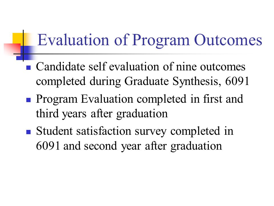 Evaluation of Program Outcomes Candidate self evaluation of nine outcomes completed during Graduate Synthesis, 6091 Program Evaluation completed in first and third years after graduation Student satisfaction survey completed in 6091 and second year after graduation