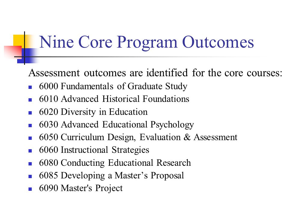 Nine Core Program Outcomes Assessment outcomes are identified for the core courses: 6000 Fundamentals of Graduate Study 6010 Advanced Historical Foundations 6020 Diversity in Education 6030 Advanced Educational Psychology 6050 Curriculum Design, Evaluation & Assessment 6060 Instructional Strategies 6080 Conducting Educational Research 6085 Developing a Master's Proposal 6090 Master s Project