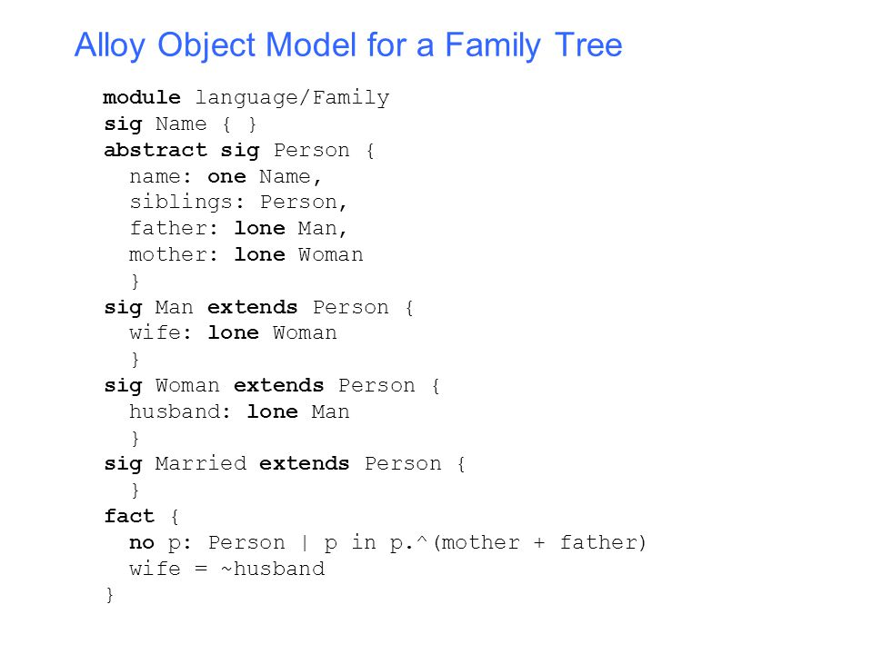 CS 290C: Formal Models for Web Software Lectures 7 and 8: Alloy