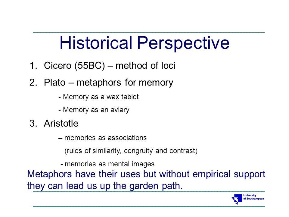 Historical Perspective 1 Cicero (55BC) – method of loci 2