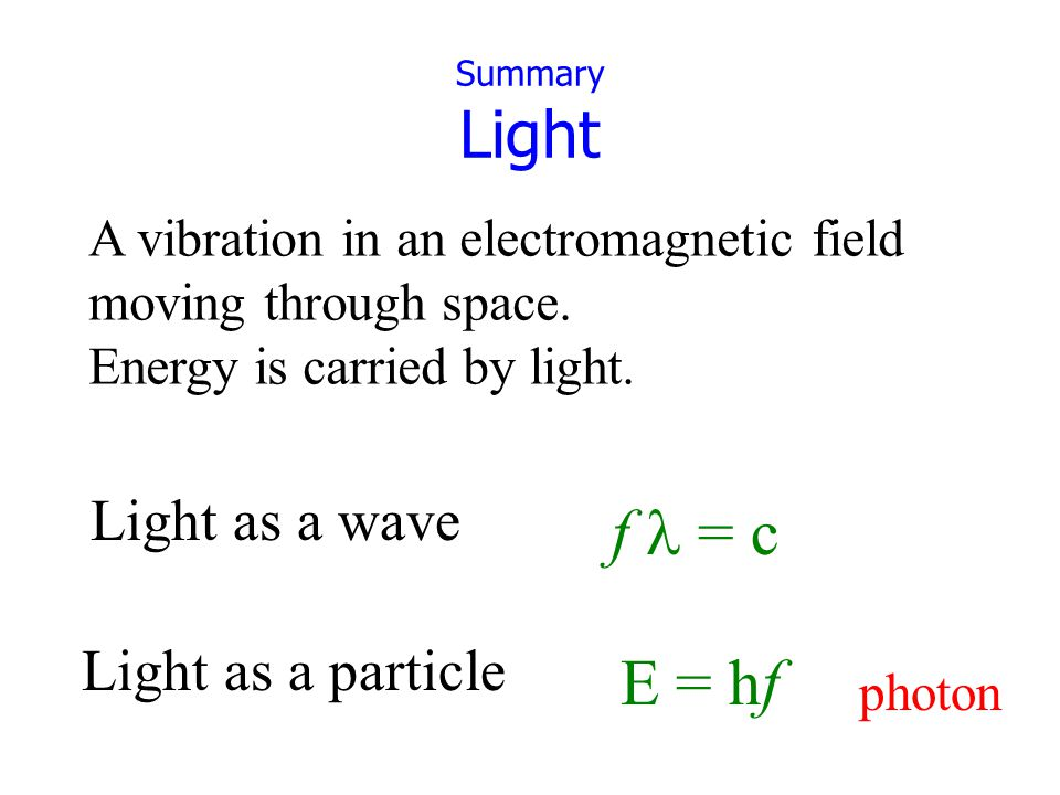 © 2005 Pearson Education Inc., publishing as Addison-Wesley Summary Light A vibration in an electromagnetic field moving through space.