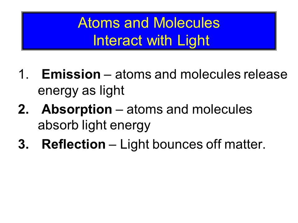 © 2005 Pearson Education Inc., publishing as Addison-Wesley Atoms and Molecules Interact with Light 1.