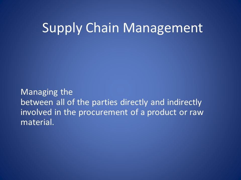 Supply Chain Management Managing the between all of the parties directly and indirectly involved in the procurement of a product or raw material.