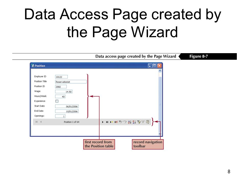 8 Data Access Page created by the Page Wizard