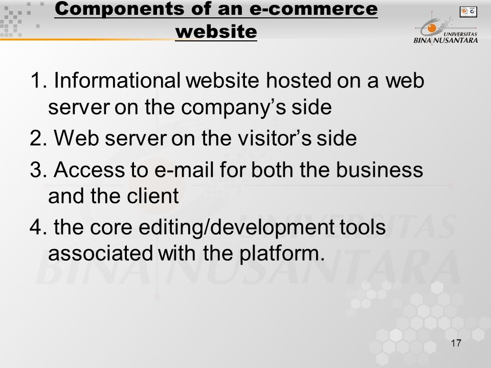 17 Components of an e-commerce website 1.