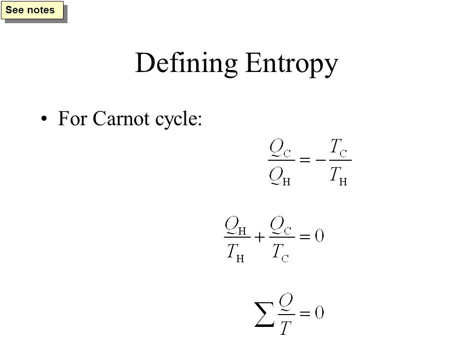 Defining Entropy For Carnot cycle: See notes