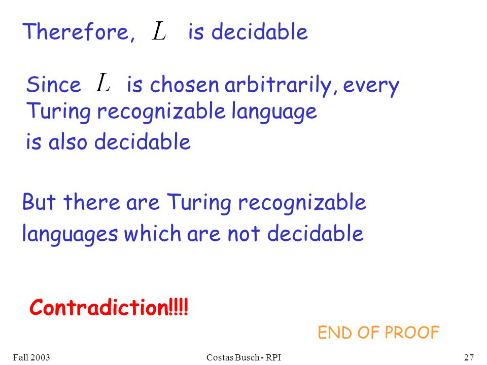 Fall 2003Costas Busch - RPI27 Therefore,is decidable But there are Turing recognizable languages which are not decidable Contradiction!!!.