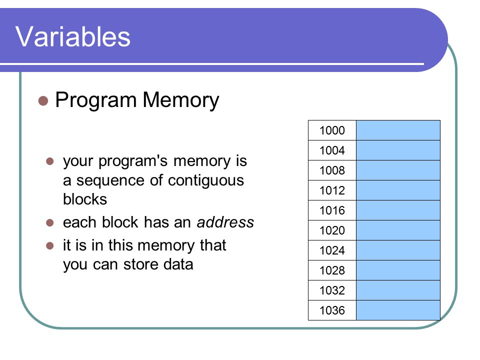 Variables Program Memory your program s memory is a sequence of contiguous blocks each block has an address it is in this memory that you can store data