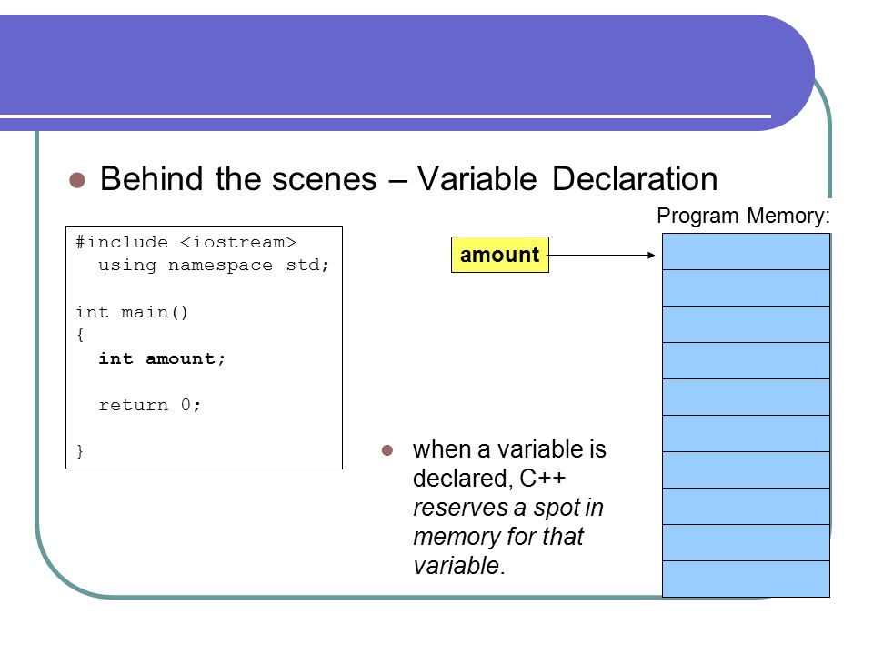 Behind the scenes – Variable Declaration #include using namespace std; int main() { int amount; return 0; } Program Memory: when a variable is declared, C++ reserves a spot in memory for that variable.