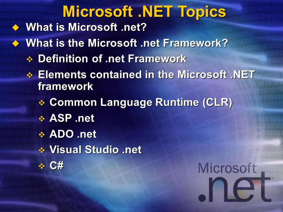  What is Microsoft.net.  What is the Microsoft.net Framework.