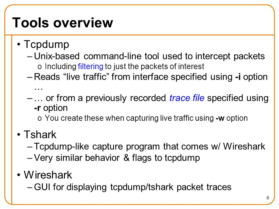 1 Capturing & Analyzing Network Traffic: tcpdump/tshark and