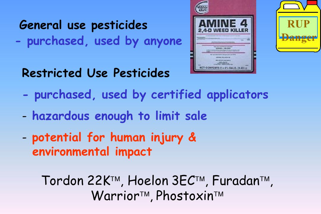 Pesticides are classified as - general use pesticides or - restricted use pesticides (RUPs) FIFRA's Major Provisions All pesticides must be registered by EPA