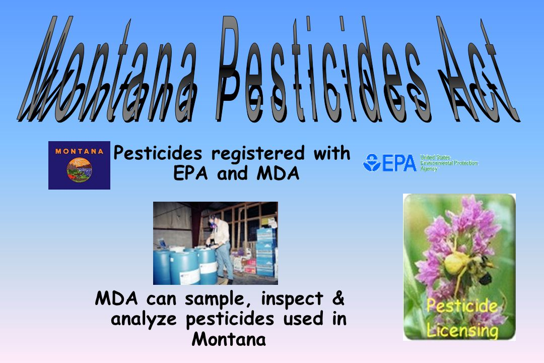 Montana Pesticides Act Montana Agricultural Chemical Groundwater Protection Act Montana Water Quality Act Montana Food, Drug and Cosmetic Act Montana Clean Air Act Montana Solid Waste Laws State Laws