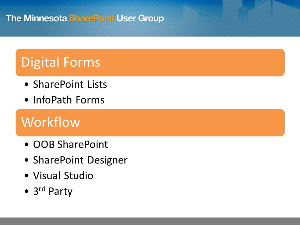 Digital Forms SharePoint Lists InfoPath Forms Workflow OOB SharePoint SharePoint Designer Visual Studio 3 rd Party