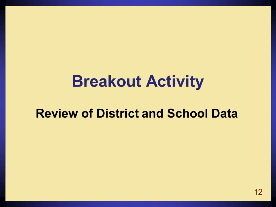 12 Breakout Activity Review of District and School Data