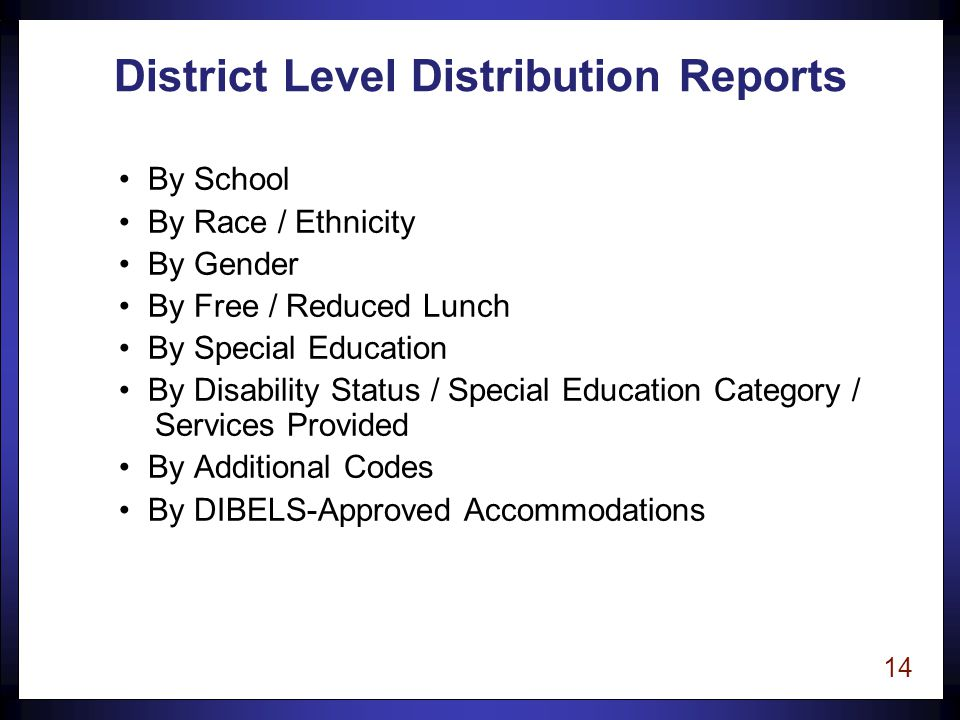 14 District Level Distribution Reports By School By Race / Ethnicity By Gender By Free / Reduced Lunch By Special Education By Disability Status / Special Education Category / Services Provided By Additional Codes By DIBELS-Approved Accommodations