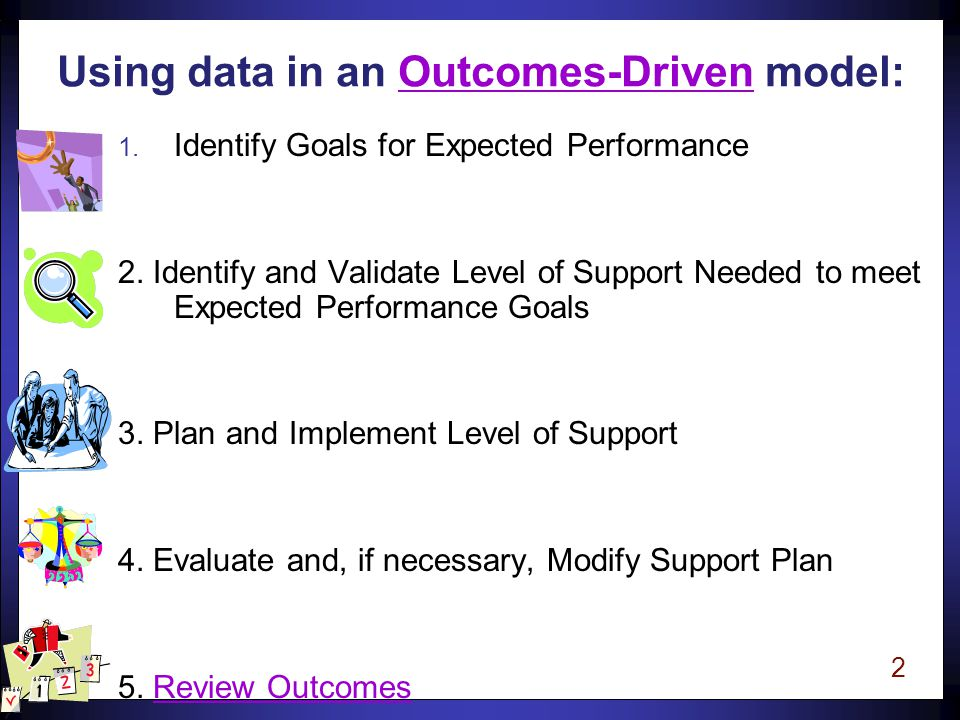 2 Using data in an Outcomes-Driven model: 1. Identify Goals for Expected Performance 2.