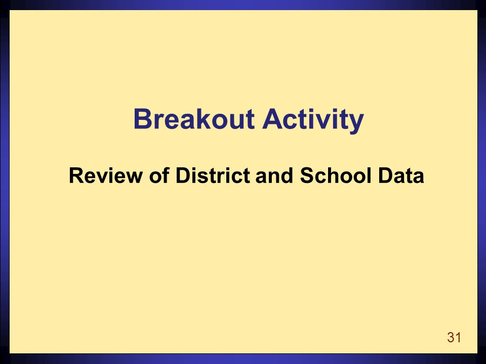 31 Breakout Activity Review of District and School Data