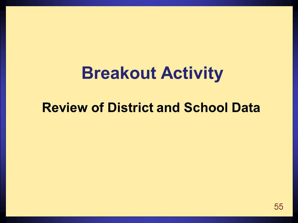 55 Breakout Activity Review of District and School Data