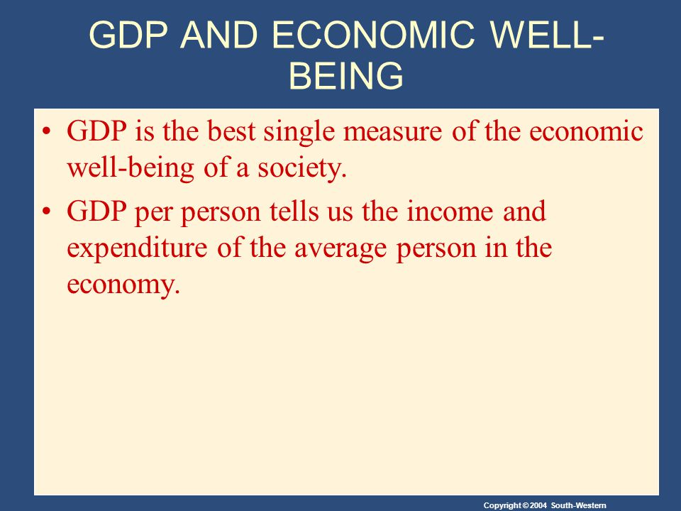 GDP AND ECONOMIC WELL- BEING GDP is the best single measure of the economic well-being of a society.