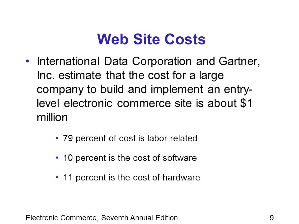 Electronic Commerce, Seventh Annual Edition9 Web Site Costs International Data Corporation and Gartner, Inc.