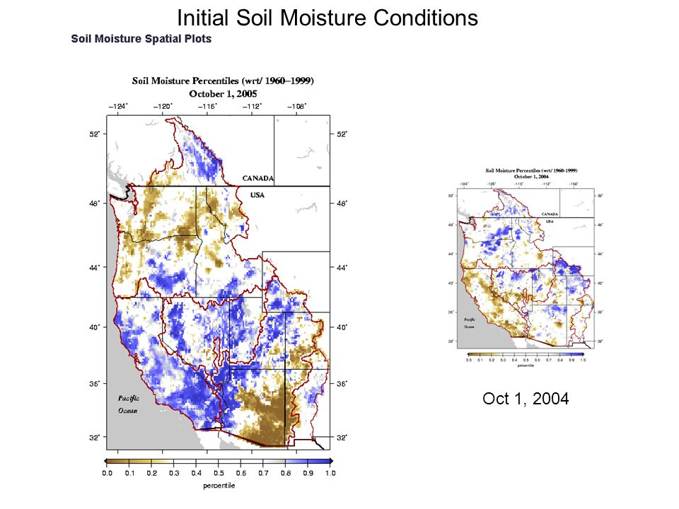 Initial Soil Moisture Conditions Oct 1, 2004